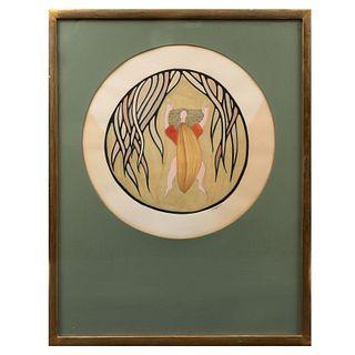 """ARMANDO VILLAGRÁN. """"La Fuga de Tarzán"""". Firmado y fechado '71 al frente. Técnica mixta sobre papel. Enmarcado. 69 x 54 cm"""