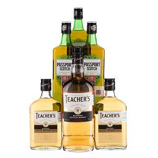 Whisky. a) Passport. Blended. Scotch whisky. b) Teacher's. Highland cream. Total de piezas: 6.