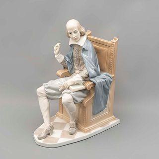 William Shakespeare. España. Siglo XX. Elaborado en porcelana Lladró. Acabado brillante.