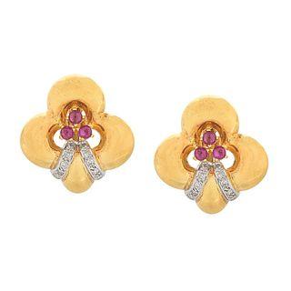 Ruby, Diamond and 18K Earrings