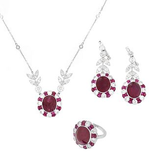 Ruby, Diamond and 18K Suite