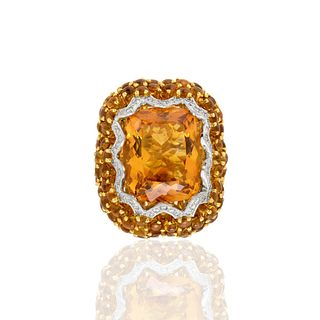 Topaz, Sapphire, Diamond and 18K Ring