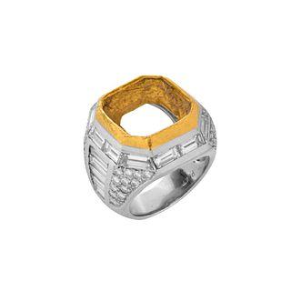 Diamond, Platinum and 18K Ring