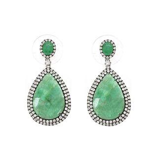 Emerald, Diamond and 18K Earrings