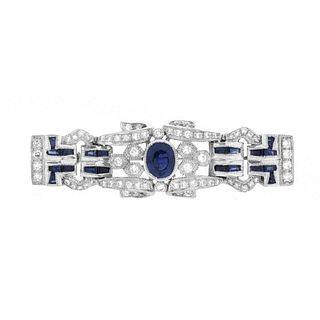 Sapphire, Diamond and 18K Brooch
