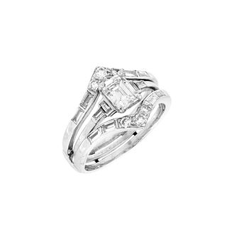 Diamond, Platinum and 14K Ring