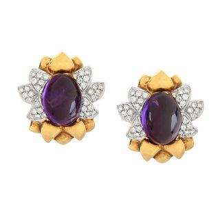 Amethyst, Diamond and 18K Earrings