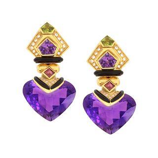 Gemstone, Diamond and 18K Earrings