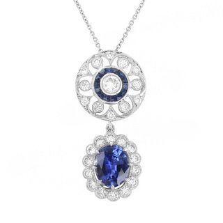 Sapphire, Diamond and 18K Necklace
