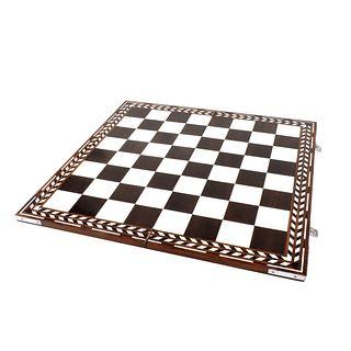 Vintage Hardwood and Bone Inlaid Game Board