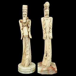 Pair of Chinese Carved Bone Figures