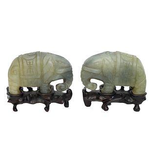 Pair of 20th C. Chinese Jade Elephants