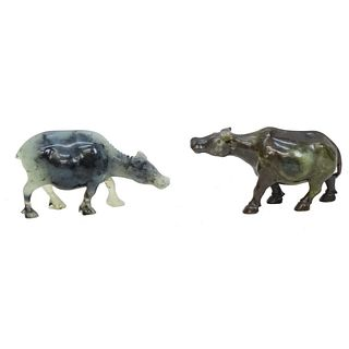 Chinese Carved Jade Cattle Figures
