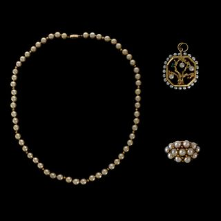 Pearl and 14K Lot