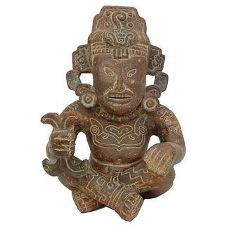 Pre Columbian Style Aztec Seated Figurine