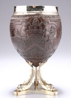 A GEORGE III SILVER-MOUNTED COCONUT CUP,??by John Hutson,?L