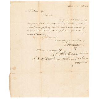 Revolutionary War General WILLIAM BARTON + Son JOHN Autograph Letter Signed