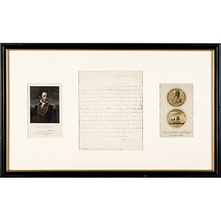 1803 Commander EDWARD PREBLE Autograph Letter Signed with Two Historical Prints