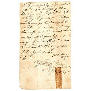 1778 Continental Army Gen. JOHN SULLIVAN Document Captured British Ship Supplies