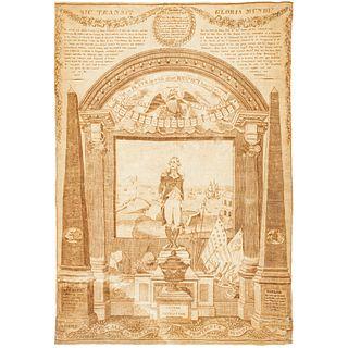 Rare 1819 George Washington Memorial Printed Textile Kerchief, THREADS 54 p. 77