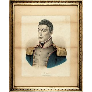 c. 1860 Currier and Ives Color Lithograph of Marquis de Lafayette in Uniform