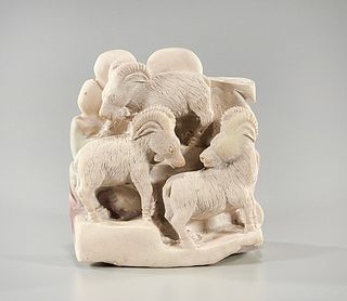 Two Chinese Carved Animal Groups