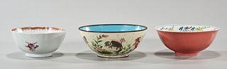 Group of Three Chinese Glazed Bowls