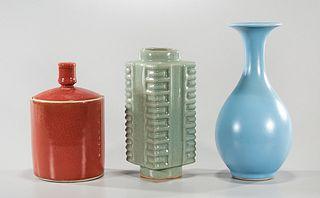 Three Chinese Monochrome Glazed Ceramics