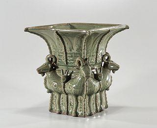 Chinese Green Crackle Glazed Porcelain Vase