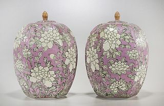 Pair Chinese Enameled Ceramic Covered Jars