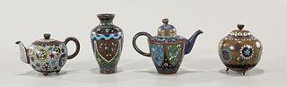 Group of Four Antique Japanese Cloisonné Enamel Pieces