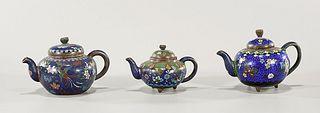 Group of Three Antique Japanese Cloisonné Enamel Teapots