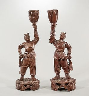 Pair Chinese Carved Wood Figures