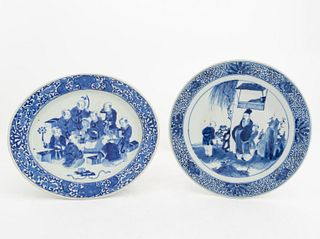 CHINESE BLUE & WHITE FIGURAL CHARGER & PLATTER
