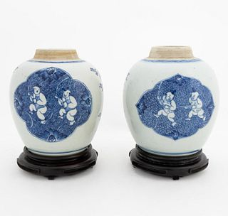 PAIR, CHINESE BLUE & WHITE GINGER JARS ON STANDS