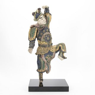 CHINESE POLYCHROME FIGURAL ROOF TILE ON PEDESTAL