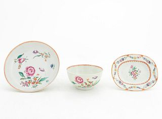 CHINESE EXPORT PORCELAIN CUP, SAUCER & DISH