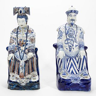 PAIR, CHINESE LG. SEATED EMPEROR & EMPRESS FIGURES
