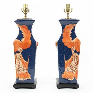 PAIR OF CHINESE PORCELAIN GOLDFISH TABLE LAMPS