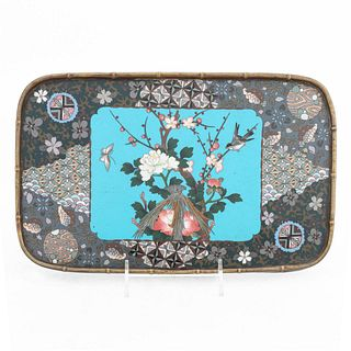 CHINESE CLOISONNE TRAY, BIRD & FLORAL MOTIF