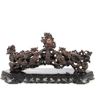 CHINESE HARDWOOD CARVING, DRAGONS CHASING A PEARL