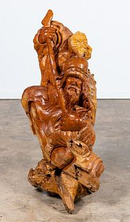 WOOD TREE ROOT CARVING OF MAN WITH STAFF