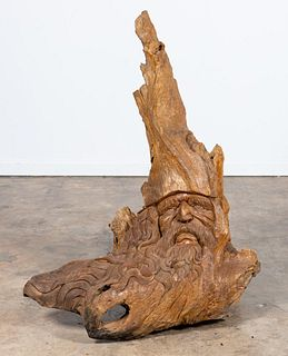MONUMENTAL TREE ROOT SCULPTURE, BEARDED MAN