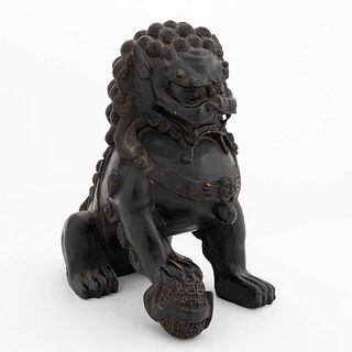 CHINESE CARVED WOODEN FIGURE OF A GUARDIAN LION