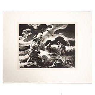 THOMAS HART BENTON, WPA STYLE LITHOGRAPH, 1945