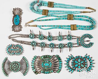 Native American Indian silver and tuquoise jewelr