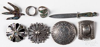 Group of Mexican and Mayan vintage silver jewelry