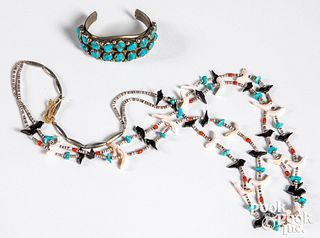 Turquoise and silver Native American bracelet etc