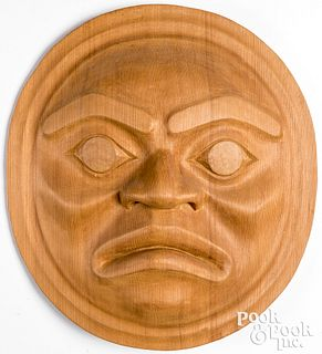 "Beautiful wood carved Kwakuital""Moon-Face"" mask,"