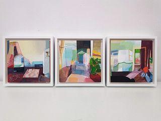 SHARON BERKE, 3 Interiors (Triptych)